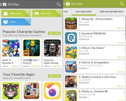 Hình ảnh của kho ứng dụng CH Play trên điện thoại Android!